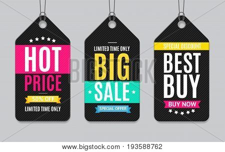 Black Sale Label Paper Tag Hanging Set Business Retail Season Promotion Element. Vector illustration