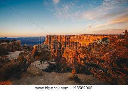 The River Colorado Through the Grand Canyon at Sunset Grand Canyon National Park Arizona USA