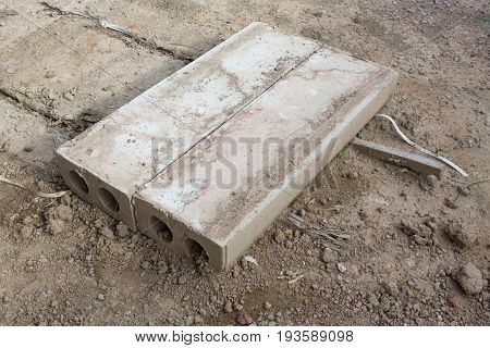 Pair of Prefabricated concrete slabs for construction.