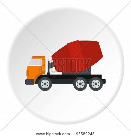 Truck concrete mixer icon in flat circle isolated vector illustration for web