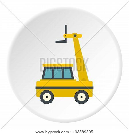 Yellow cherry picker icon in flat circle isolated vector illustration for web