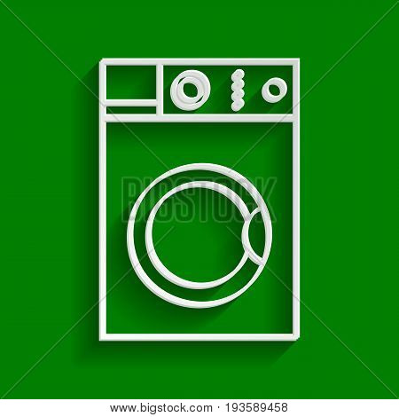 Washing machine sign. Vector. Paper whitish icon with soft shadow on green background.