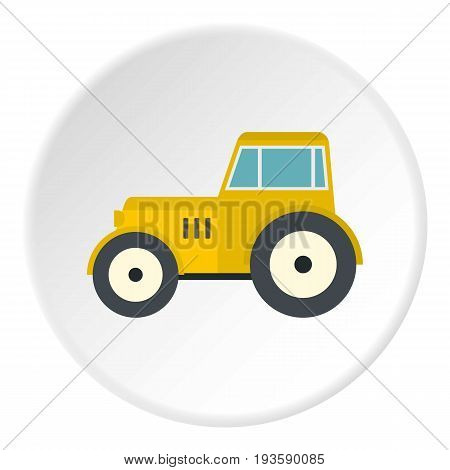 Yellow tractor icon in flat circle isolated vector illustration for web