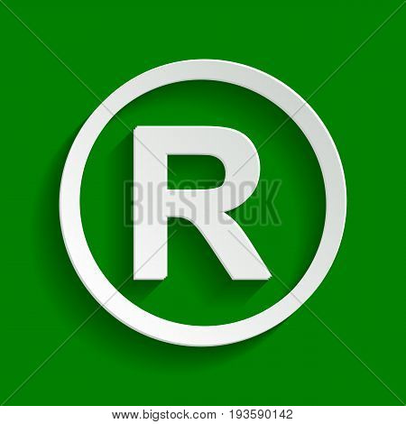 Registered Trademark sign. Vector. Paper whitish icon with soft shadow on green background.