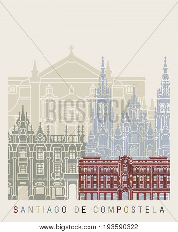 Santiago de Compostela skyline poster in editable vector file