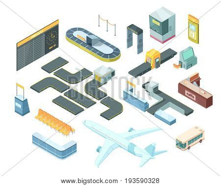 Airport isometric set with transportation, security system equipment, passport control booth, timetable, baggage carousel isolated vector illustration