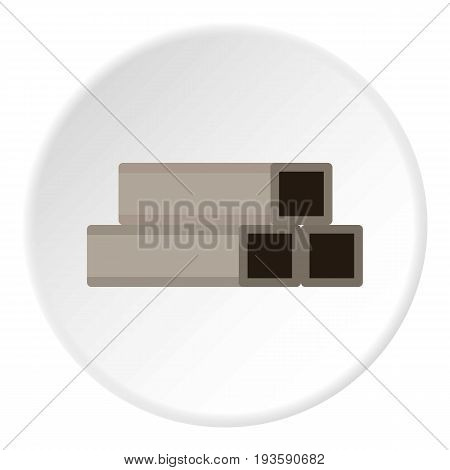 Square metal tubes icon in flat circle isolated vector illustration for web
