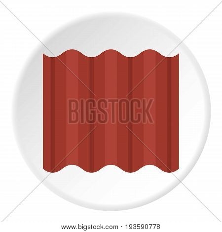 Steel colored goffered plate for roof icon in flat circle isolated vector illustration for web