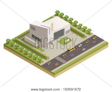 Modern protestant church white stone building with cross alongside busy motorway road isometric composition poster vector illustration