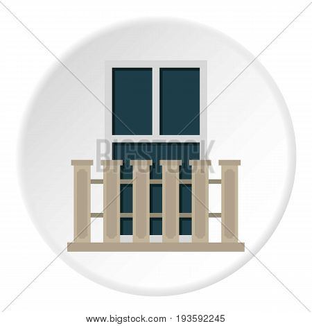 Balcony balustrade with window i icon in flat circle isolated vector illustration for web