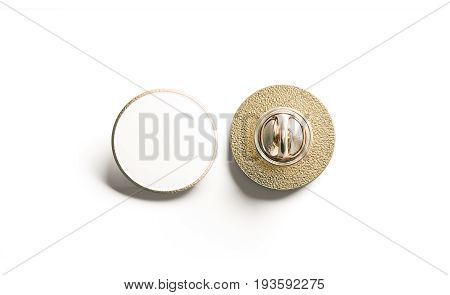 Blank white round gold lapel badge mock up front and back side view 3d rendering. Empty hard enamel pin mockup. Metal clasp-pin design template. Expensive curcular brooch for logo presentation