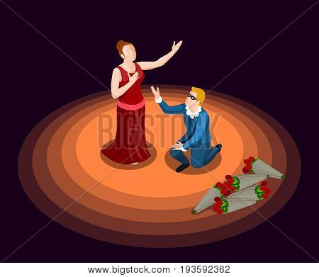 Theatre actor and actress in costumes performing at stage on black background 3d isometric icon vector illustration