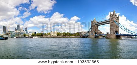 Panorama of the City of London, the Tower or London and Tower Bridge, as seen from the South Bank of the river Thames.