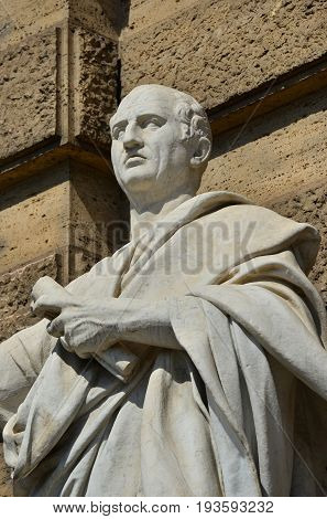 Cicero the greatest orator of the Ancient Rome marble statue in front of the Old Palace of Justice in Rome