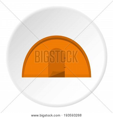 Orange tourist tent icon in flat circle isolated vector illustration for web