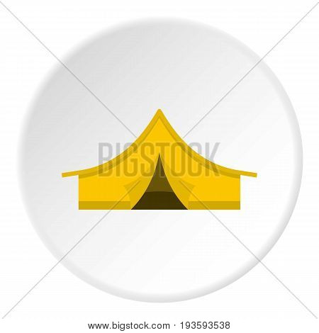 Yellow tourist tent icon in flat circle isolated vector illustration for web