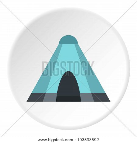 Blue tent icon in flat circle isolated vector illustration for web