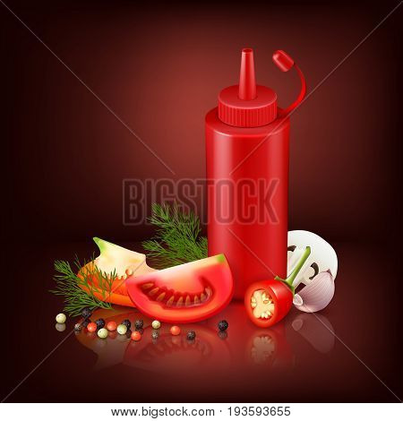 Colorful realistic background with red plastic bottle with ketchup and chopped vegetables vector illustration