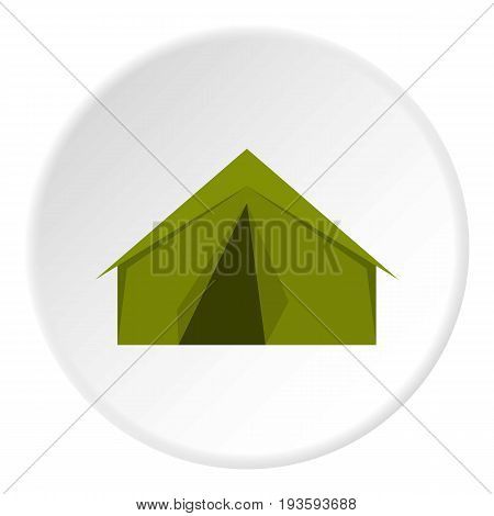 Tourist or a military tent icon in flat circle isolated vector illustration for web