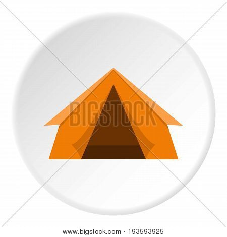 Orange touristic camping tent icon in flat circle isolated vector illustration for web