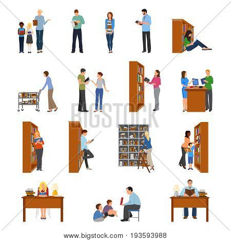 Library icons set with people and books flat isolated vector illustration