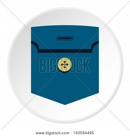 Pocket with button con. Flat illustration of pocket with button vector icon in flat circle isolated vector illustration for web