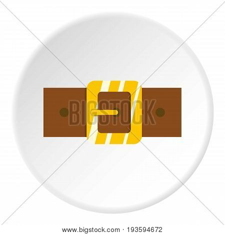 Brown leather belt with gold square buckle icon in flat circle isolated vector illustration for web