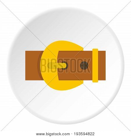 Gold buckle belt icon in flat circle isolated vector illustration for web
