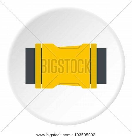 Yellow Side release buckle icon in flat circle isolated vector illustration for web