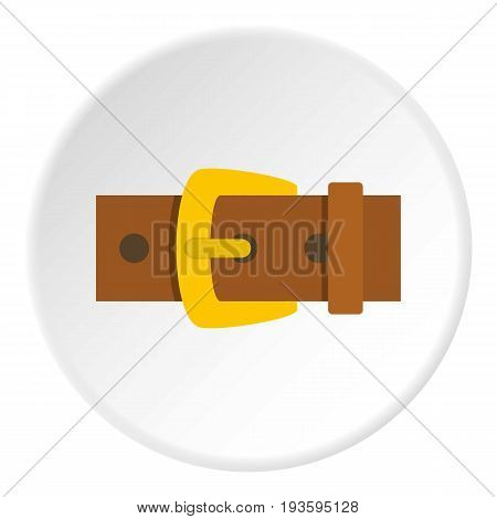 Gold buckle icon in flat circle isolated vector illustration for web