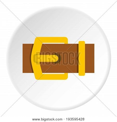 Yellow metal belt buckle icon in flat circle isolated vector illustration for web