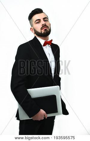 Businessman Or Tv Announcer Shows With Arrogant And Confident Look