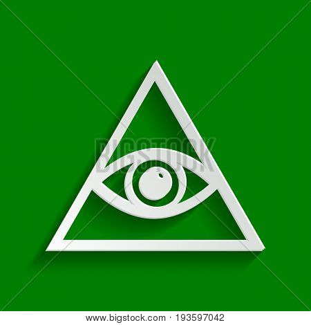 All seeing eye pyramid symbol. Freemason and spiritual. Vector. Paper whitish icon with soft shadow on green background.