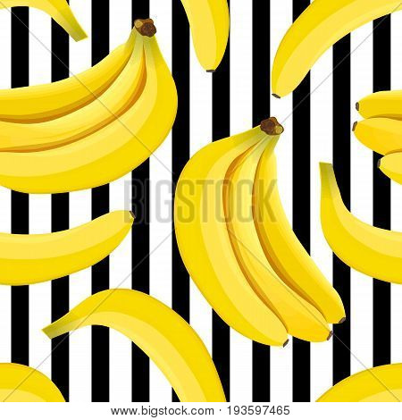 Banana seamless pattern vector. Bunch of Ripe bananas on a striped black and white background. Summer print. For textile, decoration, wrapping, food design, restaurant, health care products, label