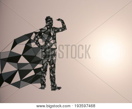 Abstract polygonal hero with cape looking into the distance on light background with copy space. 3D Rendering