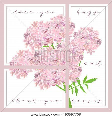 set of cards with words love you, thank you, kisses. purple flowers on the background. 3 in 1 poster, invitation, greeting, business card. For decoration, packing, wrapping, prints, valentine, wedding
