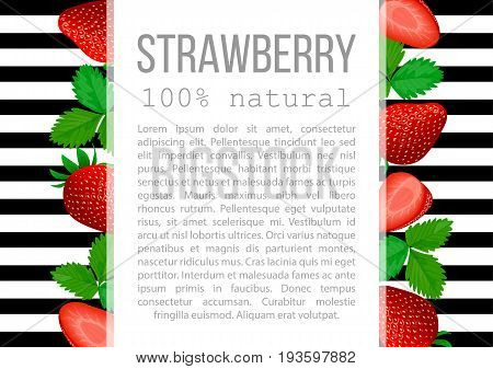 Strawberry with leaves label. badge with description text. Red ripe berries, whole and halves, foliage, horizontal stripes. For postcards, cosmetics, prints, health care, aromatherapy, advertising