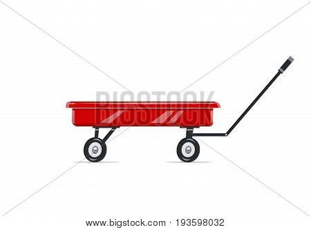 Cart. Childs toy. Agriculture tool. Housekeeping equipment. Isolated white background. Vector illustration.