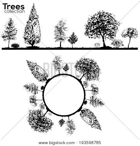 Vector Trees collection. Ink sketched border with trees