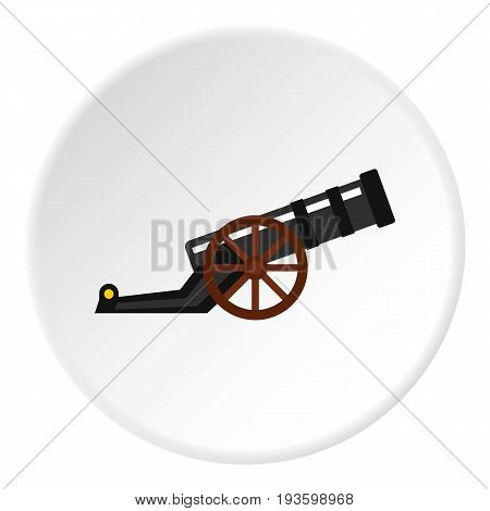 Ancient cannon icon in flat circle isolated vector illustration for web