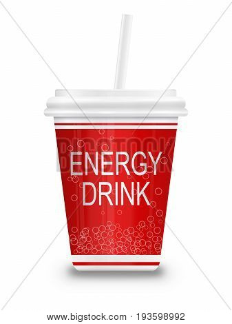 3d Illustration depicting a plastic energy drink container with straw over white.