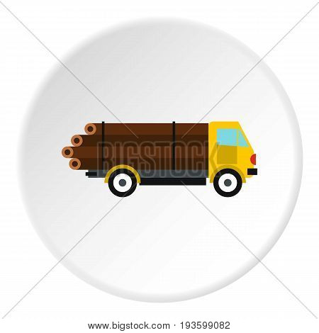 Logging truck with logs icon in flat circle isolated vector illustration for web