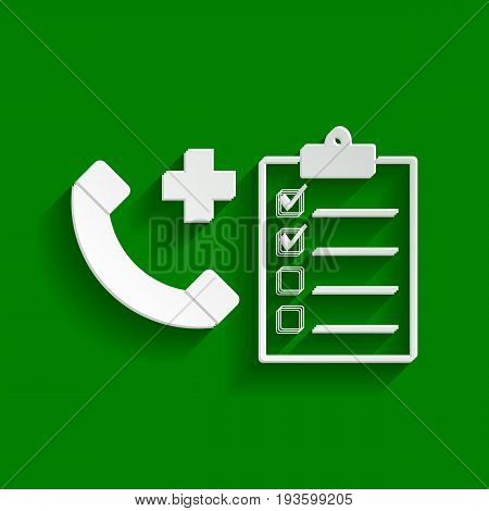 Medical consultation sign. Vector. Paper whitish icon with soft shadow on green background.