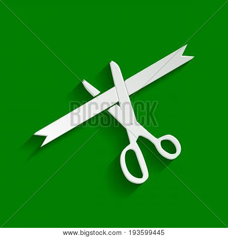 Ceremony ribbon cut sign. Vector. Paper whitish icon with soft shadow on green background.