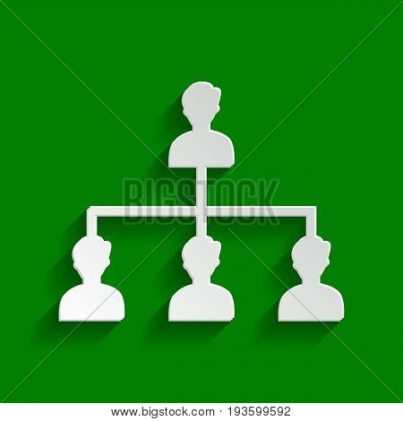 Social media marketing sign. Vector. Paper whitish icon with soft shadow on green background.