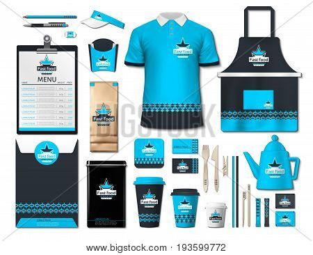 Business fastfood corporate identity items set. Vector fastfood Color promotional uniform, apron, menu, timetable, coffee cups design with logos. Work Stuff Stationery realistic set collection