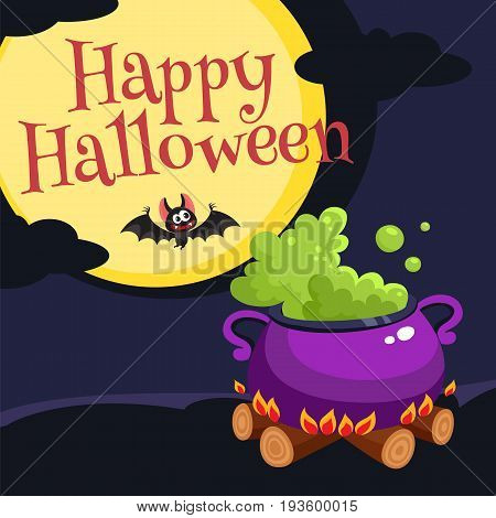 Happy Halloween greeting card, poster, banner design with boiling caldron, bat, moon and dark night, cartoon vector illustration. Halloween greeting card, banner, poster with caldron and bat at night