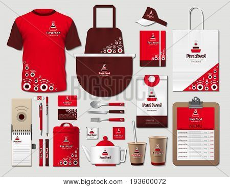 Business fastfood corporate identity items set. Vector fastfood Color promotional uniform, apron, menu, timetable, coffee cups design with logos. Work Stuff Stationery 3d realistic set collection