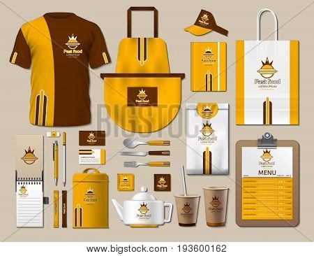 Business fastfood corporate identity items set. Vector fastfood Color promotional uniform, apron, menu, timetable, coffee cups design with logos. Work Stuff Stationery 3d realistic collection