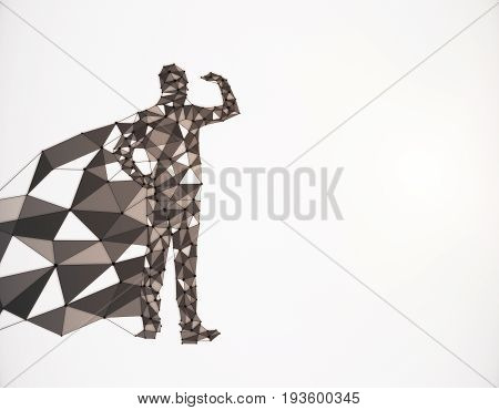 Abstract polygonal hero with cape looking into the distance on white background with copy space. 3D Rendering